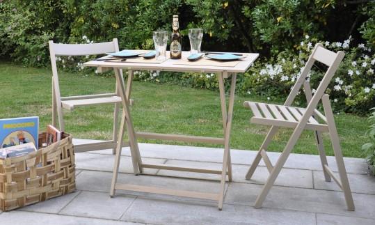 "Promo set giardino tavolo Price + 4 sedie ""Happy Hour"" in legno tortora tortora/grigio ITALIADOC"