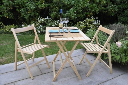 """Promo set giardino tavolo Price + 4 sedie """"Happy Hour"""" in legno naturale naturale ITALIADOC"""