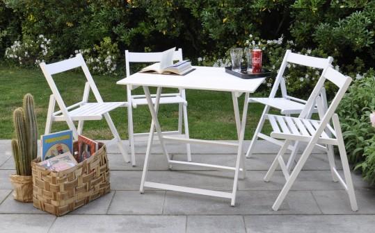 """Promo set giardino tavolo Price + 4 sedie """"Happy Hour"""" in legno bianco bianco ITALIADOC"""