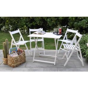 """Promo set giardino tavolo Price + 4 sedie """"Happy Hour"""" in legno bianco  ITALIADOC"""
