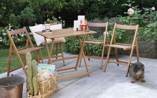 "Promo set giardino tavolo Price + 4 sedie ""Happy Hour"" in legno noce noce ITALIADOC"