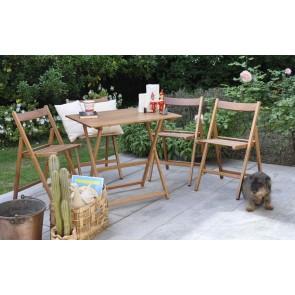 """Promo set giardino tavolo Price + 4 sedie """"Happy Hour"""" in legno noce  ITALIADOC"""