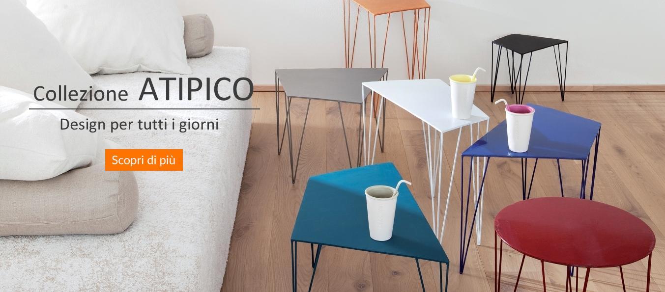 marchio Atipico, tavolini metallo, design, Atipico shop online